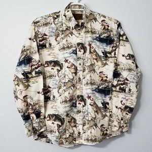 Christmas Bass Fishing Santa Claus Cotton Shirt XL